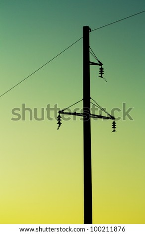 electric post on a sunset