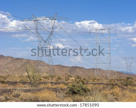 Electric Power Lines above Chiriaco Summit, CA