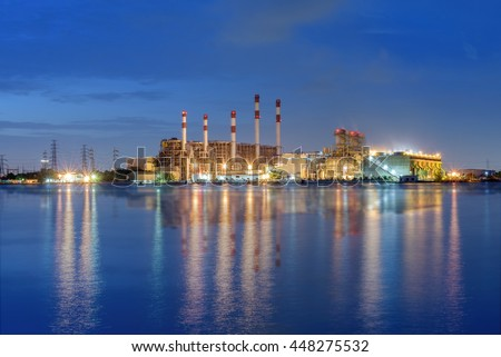 Electric power plant  at blue hour