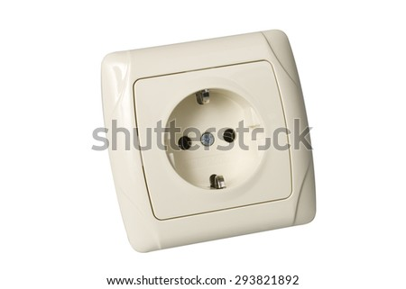 Electric power socket on white with clipping path