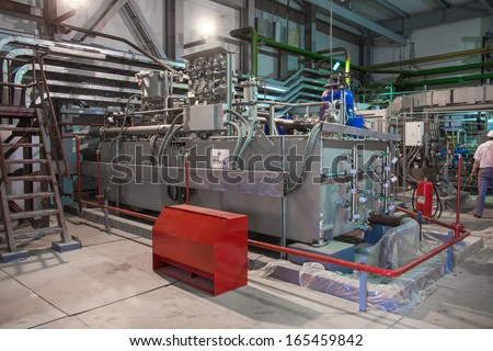 electric power station, inside - stock photo
