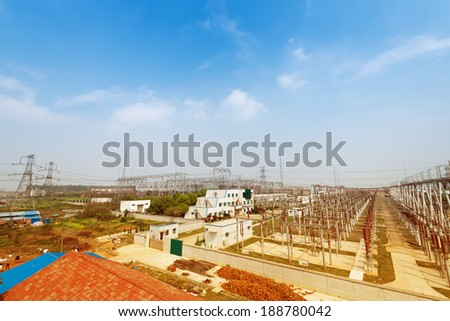 Electric power substation, high-voltage support, conductors  - stock photo