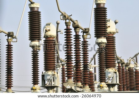 Electric power transmission - stock photo