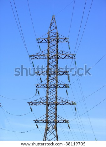 Electric Power Transmission Lines and blue sky