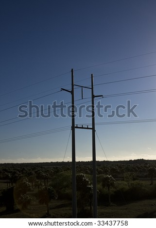 electric power wires in the Everglades florida at sunrise