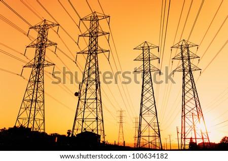 Electric Powerlines - stock photo