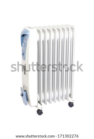 Electric radiator isolated on white - stock photo