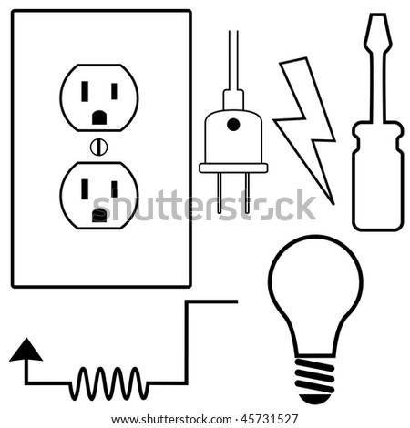 Electric Repair and installation Symbol Icons Set for Electrical Contractor or Electrician. - stock photo