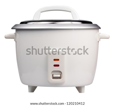 Electric rice cooker isolated on a white background - stock photo
