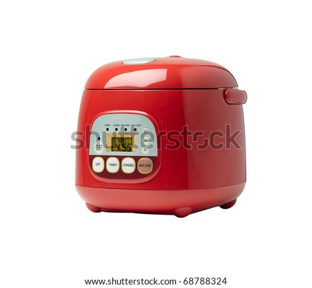 Electric rice cooker isolated on white background  - stock photo
