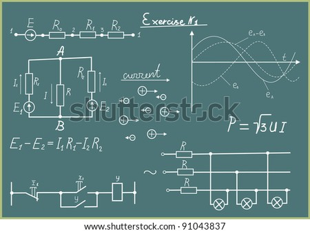 Electric schedules of the formula and the diagram on a school board.
