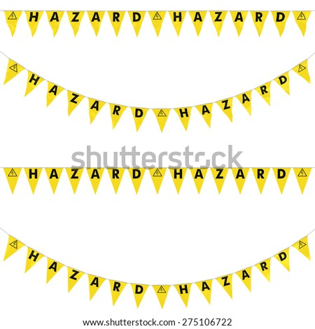 Electric Shock Hazard Bunting Collection: 3D reflection and flat orthographic textures - stock photo