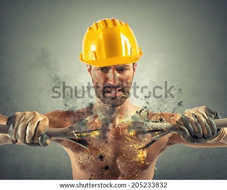 Electric shock of a man during work - stock photo