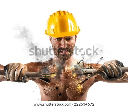 Electric shock of a man during work