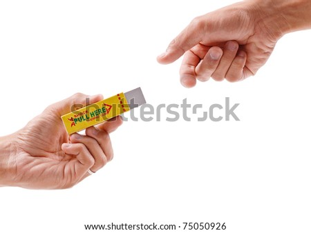 Electric Shocking Gum Prank - stock photo