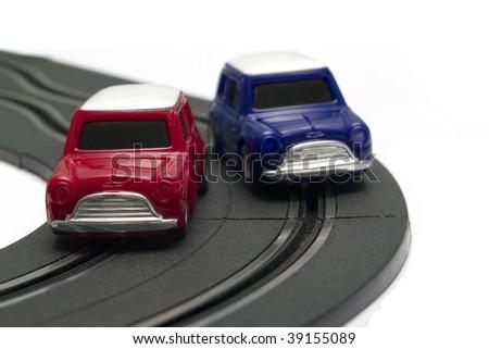 Electric slot cars isolated on white background - stock photo