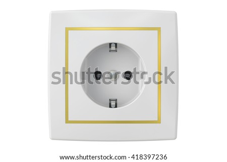 electric socket, 3D rendering isolated on white background