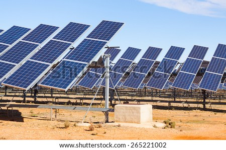 electric solar panel system at desert  - stock photo