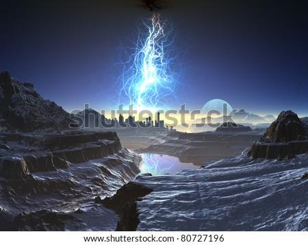 Electric Storm over Distant Alien City - stock photo