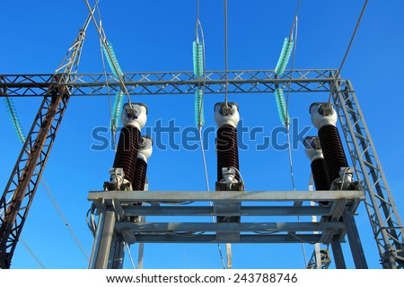 Electric substation.Equipment of production, supply and distribution of electricity. - stock photo