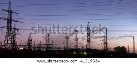 Electric substation of the industrial enterprise - stock photo