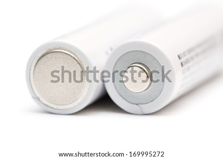Electric supply batteries on a white background