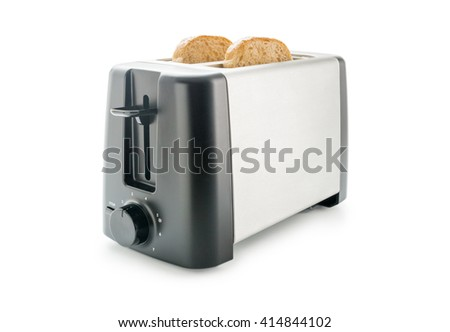 Electric toaster with two wholemeal bread slices loaded isolated on white background. - stock photo