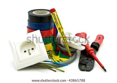 electric tools on white background - stock photo