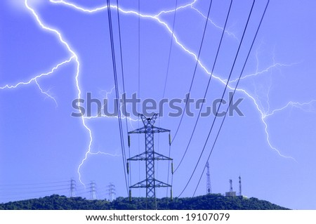 Electric tower during the thunderstorm