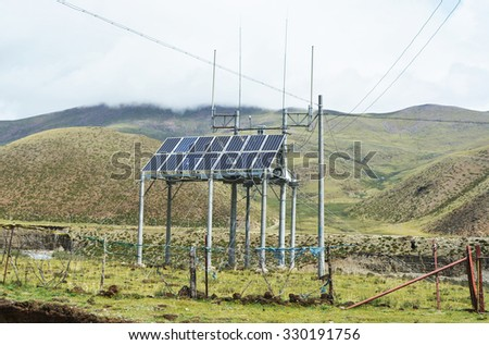 Electric tower in tibet plateau