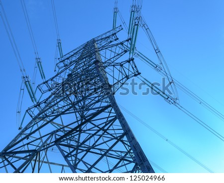 electric tower with blue sky - stock photo