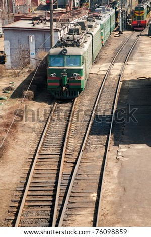 electric train on passing - stock photo