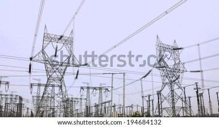 electric transformer station  - stock photo