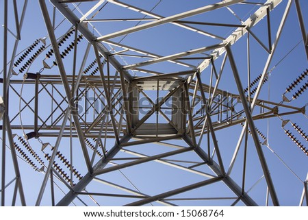 Electric transmission tower from underneath showing the symmetry