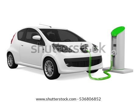 Electric Vehicle Charging Station. 3D rendering
