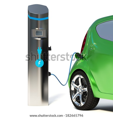 Electric Vehicle Charging Station. Go Green- Concept - stock photo