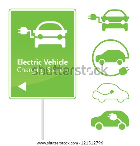 Electric Vehicle Charging Station road sign with set of icons - stock photo
