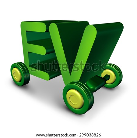 Electric vehicle concept and EV symbol as green letters on wheels as an icon for electricity powered auto and the future of environment friendly battery powered transportation and zero emissions. - stock photo