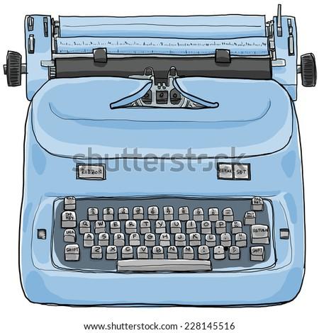 Electric vintage Typewriter art painting - stock photo