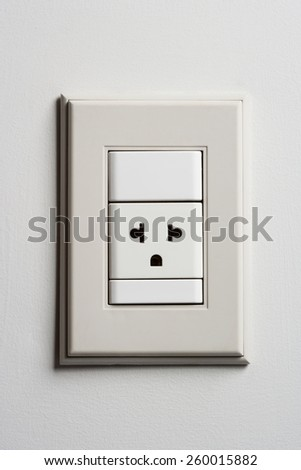 Electric Wall Power Outlet on a White Wall. Standard Socket Plug - stock photo