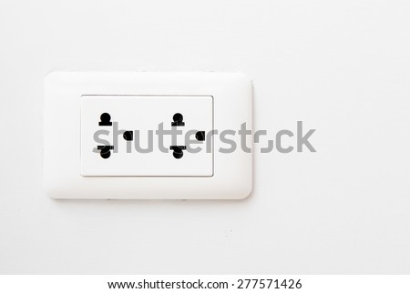 Electric Wall Socket with Wall Plate Isolated on White Background - stock photo