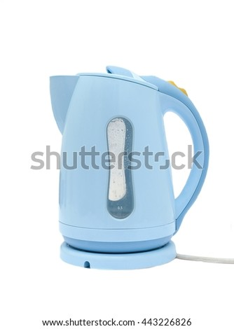 Electric water kettle on white background - stock photo
