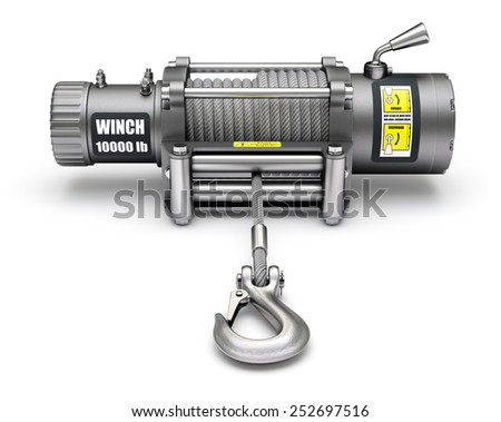Electric winch with the hook - stock photo