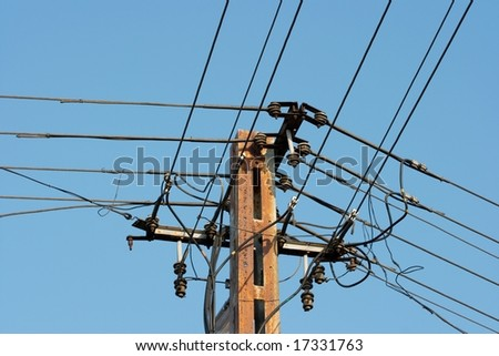 Electric wires on a pillar