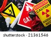 Electrical and radiation warning signs - stock photo