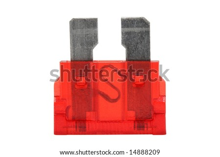Electrical Automotive Fuse or circuit breaker in red isolated on white background
