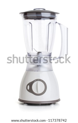 Electrical blender, kitchen equipment, isolated on white background - stock photo