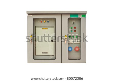 Electrical cabinet with a white background - stock photo