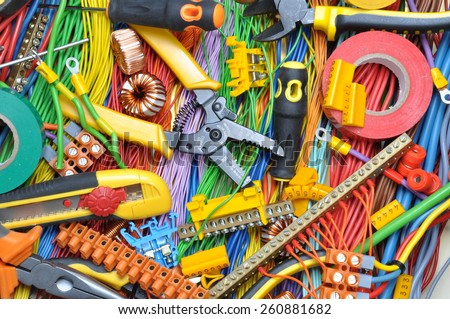 Electrical component kit to use in electrical installations - stock photo