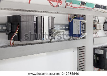 electrical components of macines closeup - stock photo